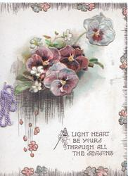 A LIGHT HEART BE YOURS THROUGH ALL THE SEASONS below purple& blue pansies