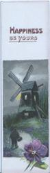 HAPPINESS BE YOURS in purple above evening rural inset windmill above single violet