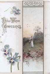 NEW YEAR GREETINGS in gilt, gilt bordered watery rural inset girl carrying basket scant violets left