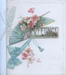 GREETINGS in gilt over tiny rural inset beside green fan blue ribbon & wild roses