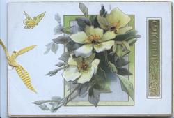 GREETINGS in gilt on green plaque vertically right, yellow wild roses over gilt/green bordered inset, butterfly left