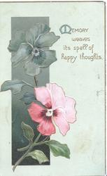 MEMORY WEAVES ITS SPELL OF HAPPY THOUGHTS in gilt beside stylized & pink wild roses, pale green background