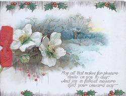 MAY ALL THAT MAKES FOR PLEASURE....WAY white wild roses in front of rural winter scene, berried holly above & below