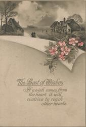 THE BEST OF WISHES, verse, below rural scene & pink wild roses, gray background