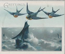 GREETINGS in silver top left, 3 bluebirds of happiness fly over sailing ship at sea
