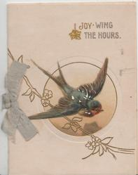 JOY WING THE HOURS above blue bird flying from left across circular inset