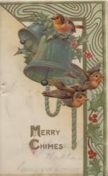 MERRY CHIMES below 3 bluebirds of happiness, 2 bells & holly, complex design top & right