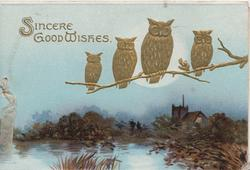 SINCERE GOOD WISHES in gilt top left, 4 gilt owls perch on branch over watery moonlit rural scene, blue sky