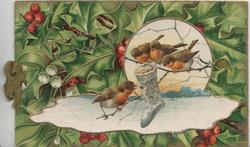 SINCERE GOOD WISHES in gilt over berried holly background, sunny winter inset, 4 birds of happiness perched round stocking of food