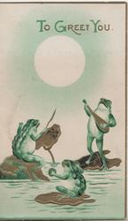 TO GREET YOU(T,G, & Y illuminated) 3 frogs on gilt lily pads play music, full moon