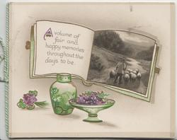 A VOLUME ....TO BE, book shaped inset shepherd drives sheep away on road, violets & vase below