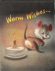 WARM WISHES mouse warms tail with single candle on birthday cake, grey/black background