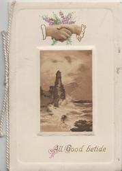 ALL GOOD BETIDE in gilt below seascape in brown, male & female hands clasped at top in front of heather