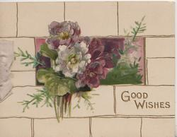 GOOD WISHES in gilt below floral inset & bunch of purple & white violets, cream tiled background