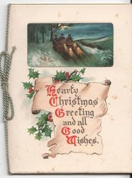 HEARTY CHRISTMAS GREETINGS AND ALL GOOD WISHES on parchment with holly behind, inset of men in car above