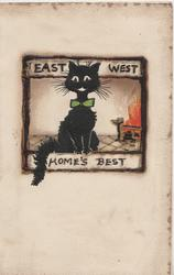 EAST WEST HOME'S BEST above & below black cat sits facing front, flaming fire right