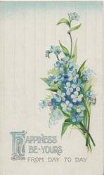 HAPPINESS(H illuminated)  BE YOURS FROM DAY TO DAY below forget-me-nots, pale blue striped background