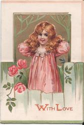 WITH LOVE girl in pink dress stands behind fence, pink roses left