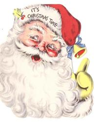 IT'S CHRISTMAS TIME die-cut Santa head with bell & blue ribbon on the end of his cap