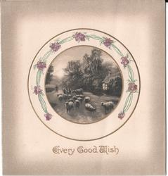 EVERY GOOD WISH in gilt, circular inset of sheep surrounded by flowers