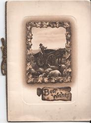 BEST WISHES on plaque, inset of man tending to sheep above
