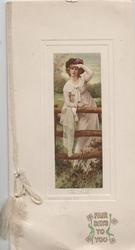 FAIR DAYS TO YOU below rural inset, young woman leans on fence, shades her eyes, looks front