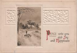 PEACE UNTO YOU AND JOY AND HAPPINESS inset of man and sheep to the left