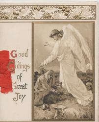 GOOD TIDINGS OF GREAT JOY angel gives message to shepherds, sheep below