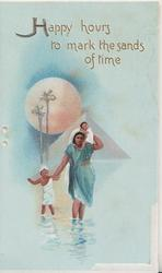 HAPPY HOURS TO MARK THE SANDS OF TIME in gilt above sun, sands & Egyptian mother & 2 children