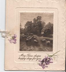 MAY TIME SHAPE HAPPY DAYS FOR YOU in gilt below inset of sheep, flowers left and below