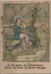 IN THE GARDEN ...THOUGHTS woman in old style dress sits among a multitude of flowers & trees