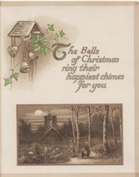 THE BELLS ....verse, evening rural winter inset, mother & girl on path under birch trees, church behind