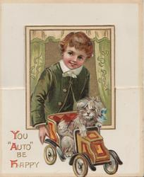 """YOU """"AUTO"""" BE HAPPY, boy in old style dress supervises puppy """"driving"""" toy car, unusual cut & folds"""