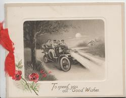 TO SPEED YOU ALL GOOD WISHES in gilt below 4 people night driving in country, red poppies lower left