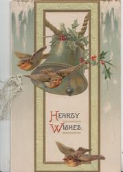 HEARTY WISHES below silver bell & 3 birds of happiness perhaps English robins flying