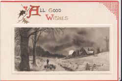 ALL GOOD WISHES (A/W illuminated) above inset of man guiding sheep down path