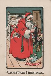 CHRISTMAS GREETINGS below Santa filling stockings watched by peeking shildren