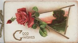 GOOD WISHES in gilt below right, red rose & bud & evening rural inset framed with rose stems