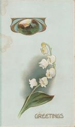 GREETINGS in gilt below lilies-of-the-valley, small gilt/ blue rural design above, pale blue background