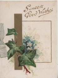 SINCERE GOOD WISHES in gilt above ivy & forget-me-nots