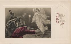 JOYFUL TIDINGS(J&T illuminated) right, angel appears to 3 wise men