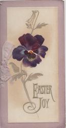 EASTER JOY in silver below deep purple pansy, lilac marginal design