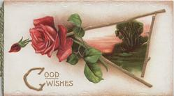 GOOD WISHES in gilt, irregular thorny gilt bordered evening rural inset, red rose & bud