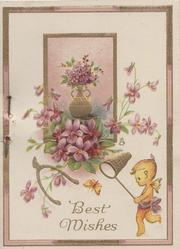BEST WISHES in gilt below violets in vase in inset & around, imp with butterfly net lower right, wishbone left