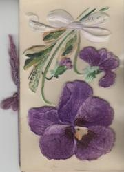 FOND WISHES on petals of white flower above purple pansies, applique in cellophane to adherant front cover