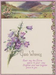 GOOD WISHES below hill & lake inset, heather & campanulas, above verse EACH DAY THE FUTURE....