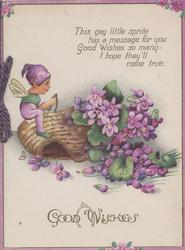 GOOD WISHES below imp holding wish-bone sitting on basket of violets below verse THIS GAY LITTLE SPRITE....