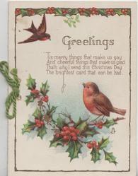 GREETINGS above verse 'TIS MERRY THINGS....bird of happiness(perhaps English robin), perched on berried holly, another flies