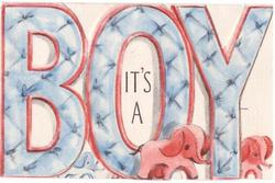 IT'S A BOY die-cut blue letters with tiny pink elephants