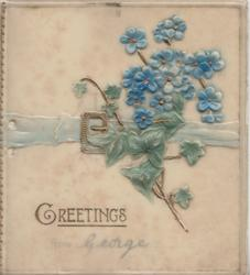 GREETINGS in gilt below forget-me-nots over blue belt with gilt buckle